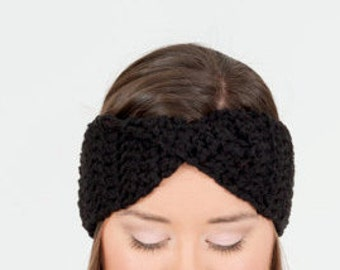 Black Crochet Turban Twist Headband / Chunky Knit Ear Warmer, Handmade Crocheted Knitwear, Women's Warm, Knitted Cozy Winter Accessory