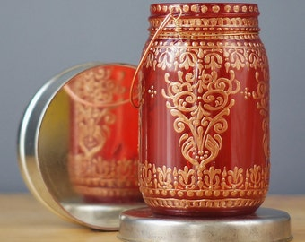 Moroccan Inspired Mason Jar Lantern, Ruby Red Glass with Mehndi Inspired, Henna  Design Copper Details and Copper Handle