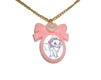 Marie Aristocats Cameo Necklace, Classic Disney, Pale Pink, Pastel Cute Kawaii Cat