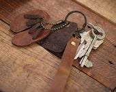 Mix distressed leather/ Vintage arts Sandals keychain
