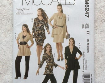Ladies Jacket, Tops, Sash, Skirt and Pants Pattern, McCalls M6247 For Stretch Knits Plus Size 16 - 22