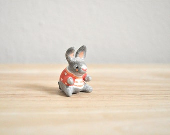 Red Sweater Spring Miniature Bunny Rabbit Figurine Animal Sculpture, Animal Totem