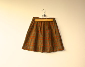 1960s Vintage Tweed Pleated Plaid Red Mustard Skirt Hand Sewn Girls Size 7 - 8.  Back to School
