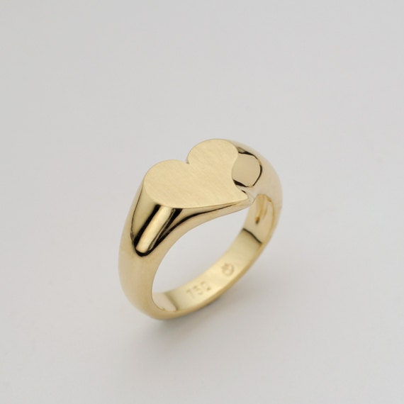 Love Hearts Ring Signet Solid 18k Gold Heart By