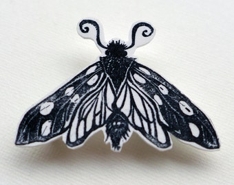 Moth Brooch, moth badge, butterfly pin badge
