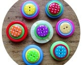 Polka dot, fridge, memo, button magnets - set of 7