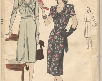Vintage 1940s Vogue Pattern 5013 Misses Dress Size 14 Bust 32