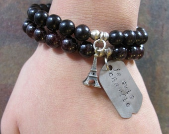Je Suis Charlie Charm Bracelet with Eiffel Tower Set of 2 Deep Garnet and Wood Beads