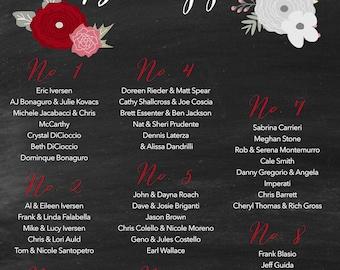 Printable Custom Wedding Poster Seating Chart Rustic Rustic Flowers DIY Printable