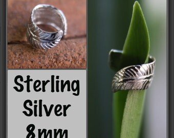 Sterling Silver Leaf cuff (8mm 5/16') DREADLOCK BEAD Dread