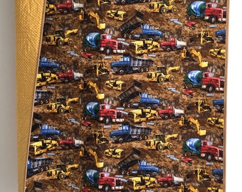 Baby Boy Quilt with Construction Trucks and Equipment Blue Red Yellow Brown