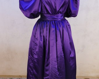 Vintage Royal Purple Gown, Long Purple Dress with Puff Sleeves, Purple Prom Dress, Formal Fairy Tale Ball Gown, Princess