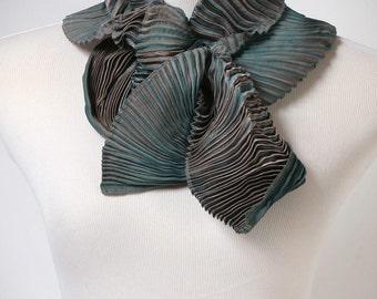 Pleated Scarf Hand Dyed Shibori Scarf Gray Blue Shibori Silk Scarf