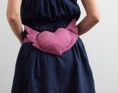 Pale Pink Heart Bag Flying Heart Bag Pink Hip Purse Romantic Belt Bag Heart  Small Purse Cute Bag Hipster Bag Club Bag Christmas Gift Ideas
