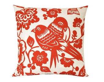 Designer Orange Bird Pillow Cover- Aviary by Thomas Paul
