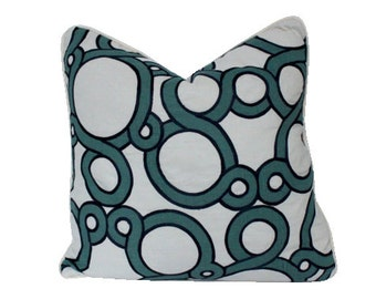 Teal and Navy Conundrum Pillow Cover with Ivory Piping
