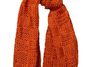 Hand Knit Scarf - Orange Mulberry Silk Basketweave