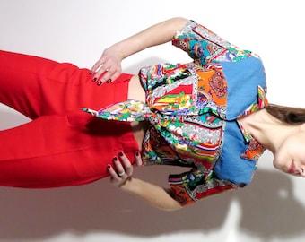 Vintage Santa Cruz Sportswear Crop Colorful Shirt Size L