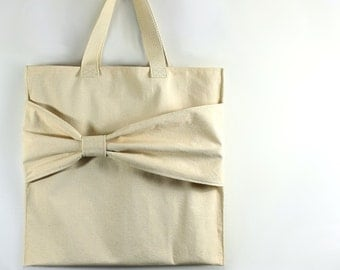 Market Tote Bag with Bow, Modern Beach or Diaper Bag, Minimalist Purse, Simple Grocery Sack, Handbag with Cute accent