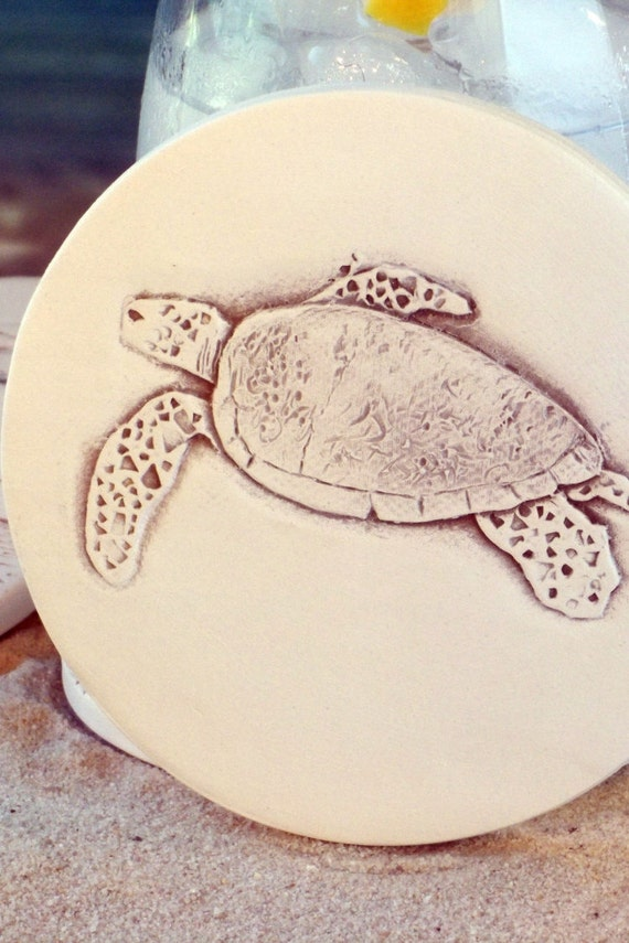 Sea turtle absorbent clay drink coasters set of by shaynemccarter - Drink coasters absorbent ...