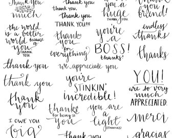 Hand Lettered Thank You Clip Art Words