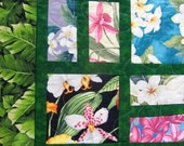 Handmade Scrappy Hawaiian Floral Patchwork Throw Quilt, Tropical Flowers, Hibiscus, Orchids, Plumeria, Butterflies, Bright, Colorful, Happy
