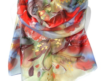 Red Tulip Scarf. Hand Painted Anniversary Birthday Gift for Her. Floral Shawl. Genuine Art. Authentic Silk Painting. 18x71in. MADE to ORDER