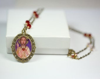 """Jewelry Handmade Art Pendent Necklace """"The Sacred Heart of Jesus"""", Beautiful Vintage Cabochon Style Pendant by Evona"""