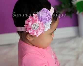 Easter Baby Headband, Infant Headband, Newborn Headband, Baby Headband, Toddler Headband, Pink, Lavender, and White Headband