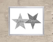 Gray Nursery, Star Nursery Art, 8x10 Watercolor Star, Brothers Art, Twin Boys Gift, Black and White Nursery, Gender Neutral Nursery Art