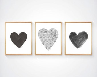Black and White Art, Set of 3 - 8x10 Watercolor Heart Prints, Charcoal Art, Grey Decor, Black and White Nursery Art, Black and White Decor