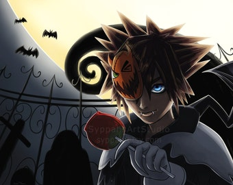 Halloween Town Sora - Kingdom Hearts Print - 11x17 Digital Art Print