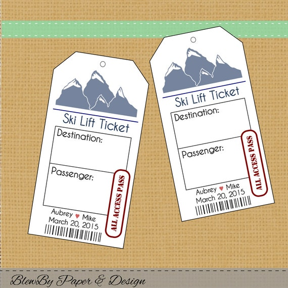 ski lift ticket wedding printable escort place cards seating