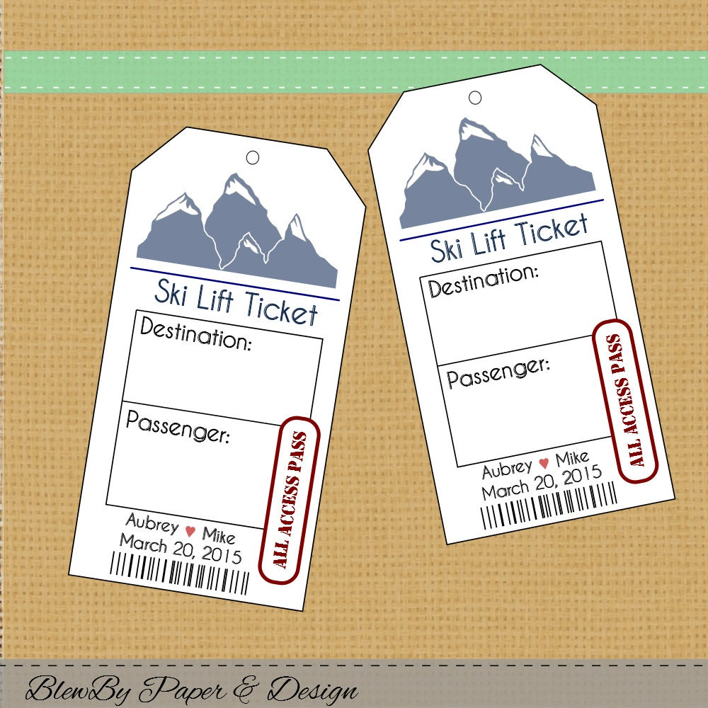 Ski Lift Ticket Wedding Printable Escort Place Cards Seating