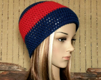 Mens Crochet Hat, AFL Melbourne Football Beanie, Demons Wool Crochet Womens Beanie, Winter Wool Hat, School Student Beanie, Australia