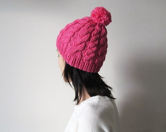 Chunky Cable Knit Hat in Fuchsia, Beanie with Pom Pom, Womens Knit Hat, Wool Blend, Winter Accessories, Seamless, For Her, Ready to Ship