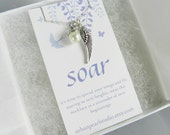 Inspirational Jewelry, Pearl Pendant, Silver Wing Charm Necklace, Gift for Friend, Spread Your Wings Soar, Motivational Jewelry