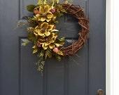 Spring Wreaths, Pink and Green, Summer Door Decor, Grapevine Wreaths, Floral Wreaths