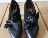 Vintage 1980s Privilege Trendy Black Leather Heels Made In Italy