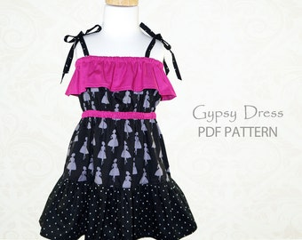 EASY Girls dress pattern pdf, Childrens sewing pattern pdf, girls sewing pattern pdf, GYPSY