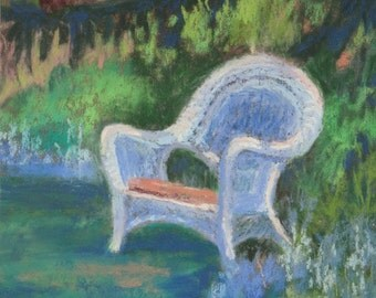 "Original Pastel Landscape Painting wicker chair summer vacation blue Rochester, NY original art, ""Forget-Me-Not Garden"" by Colette Savage"