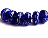 European charm beads, Stars on Cobalt Blue, Handmade Lampwork Glass large hole beads, Bracelet beads, European style, Glass Charms, SRA