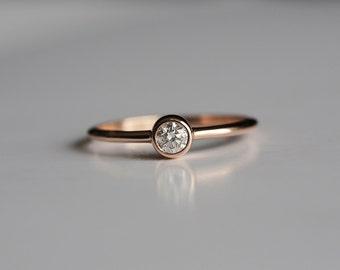 Dainty Diamond Ring, Round Diamond Engagement Ring, 18k Solid Gold