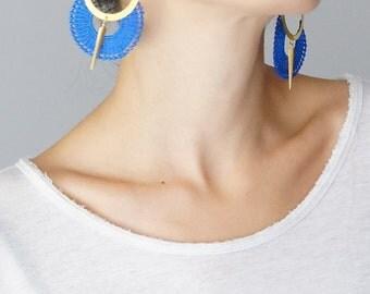 Hoop Earrings Royal Blue Earrings Lace Earrings Statement Earrings Modern Earrings Girlfriend Gift / OCRI
