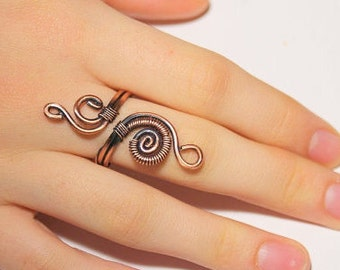 wire ring jewelry, copper ring, adjustable ring, wire wrapped copper ring, wire wrapped jewelry handmade, copper jewelry