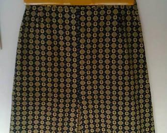 Vintage JAEGER skirt tie print retro preppy black yellow 1970 S