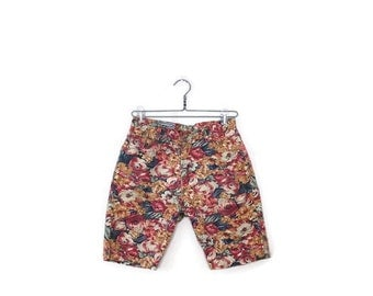 Vintage  Colorful  Floral Denim Shorts from 1980's/W27*