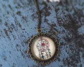 Dreamcatcher Flower Necklace Bohemian Art Floral Dreams Design Henna Mehndi Vintage Style Hand Drawn Handmade Jewelry Happiness Symbolism