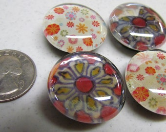 Set of 4 Large Glass Magnets, Flower Patterns - Handmade - Kitchen Decor - Refrigerator Magnets