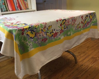 vintage tablecloth with Summer Meadow Flowers